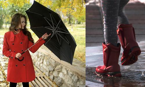 june shopping raincoat rain boots umbrella